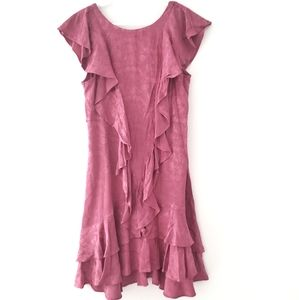 Topshop Double Ruffle Floral Pink Dress 8